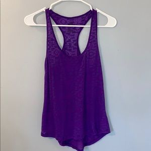Women's Sheer purple racer back tank top